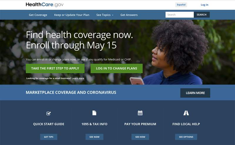 This image shows the main page of the HealthCare.gov website on Monday, Feb. 15, 2021.  Health insurance shoppers stuck in a bad plan or unable to find coverage have a new option for help. A sign-up window opened Monday for government insurance markets and runs through May 15 in most U.S. states. (HealthCare.gov via AP)