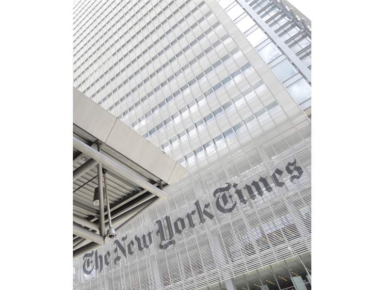 FILE - This June 22, 2019, file photo shows the exterior of the New York Times building in New York. In a report to its employees in February 2021, The New York Times says it needs a culture change to become a better place to work, particularly for people of color. (AP Photo/Julio Cortez, File)