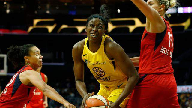 LOS ANGELES, CALIFORNIA - JUNE 18: Forward Chiney Ogwumike #13 of the Los Angeles Sparks looks to put up a shot during a game against the Washington Mystics at Staples Center on June 18, 2019 in Los Angeles, California. (Photo by Katharine Lotze/Getty Images)