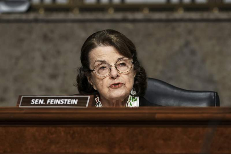 FILE - In this Wednesday, March 3, 2021, file photo, Sen. Dianne Feinstein, D-Calif., speaks during a Senate Committee on Homeland Security and Governmental Affairs and Senate Committee on Rules and Administration joint hearing examining the Jan. 6, attack on the U.S. Capitol in Washington. California Gov. Gavin Newsom says he'll appoint a Black woman to the U.S. Senate if Feinstein retires before her term ends in 2024. (Greg Nash/Pool Photo via AP, File)