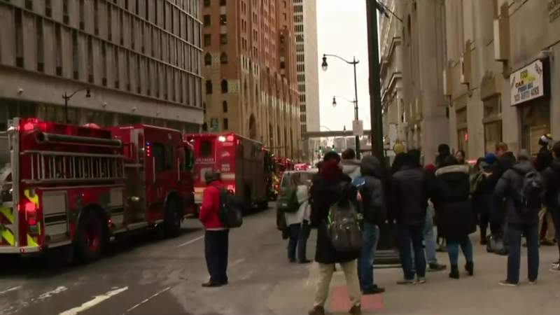 Firefighters at the Penobscot Building on Jan. 17, 2020.