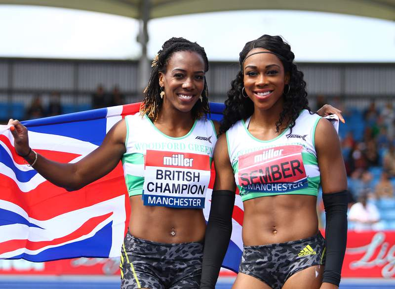 MANCHESTER, ENGLAND - JUNE 27: The winner Tiffany Porter of Woodford Green (L) and 3rd Placed Cindy Sember of Woodford Green (R) pose for photographs after the Womens 100m Hurdles Final on Day Three of the Muller British Athletics Championships at Manchester Regional Arena on June 27, 2021 in Manchester, England. (Photo by Ashley Allen/Getty Images)