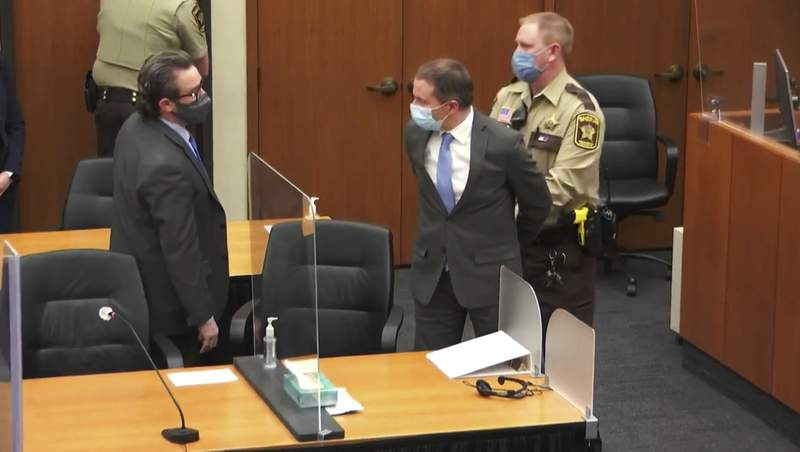 FILE - In this April 20, 2021 file image from video, former Minneapolis police Officer Derek Chauvin, center, is taken into custody as his attorney, Eric Nelson, left, looks on, after the verdicts were read at Chauvin's trial for the 2020 death of George Floyd,, at the Hennepin County Courthouse in Minneapolis, Minn. Nelson has requested a new trial, saying the court abused its discretion when it refused to change the venue in the original proceedings, according to a court document filed Tuesday, May 4, 2021. (Court TV via AP, Pool, File)