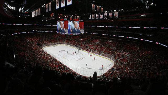 The Detroit Red Wings play the Minnesota Wild during the first period at Little Caesars Arena on October 5, 2017 in Detroit, Michigan. (Photo by Duane Burleson/Getty Images)