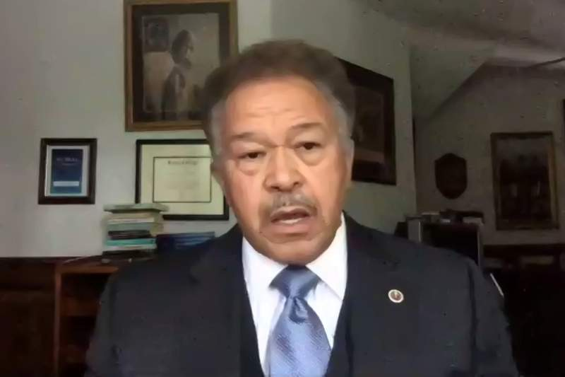 This image made from video provided by the Georgia Democratic Party on Monday, July 20, 2020 shows Robert Franklin is seen. Georgia Democrats announced a list of five finalists who are under consideration to replace Rep. John Lewis on the November ballot. They are: state Sen. Nikema Williams, state Rep. Park Cannon, Georgia NAACP President James Woodall, Atlanta city councilman Andre Dickens and Robert Franklin, former president of Morehouse College in Atlanta. The finalists are being considered at a meeting of the state party's executive committee. (Georgia Democratic Party via AP)