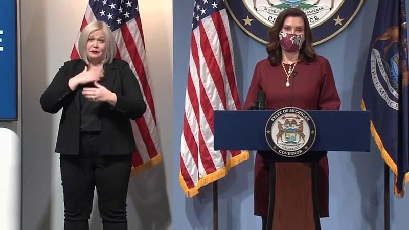 Michigan Gov. Gretchen Whitmer at a Feb. 9, 2021, COVID-19 briefing.
