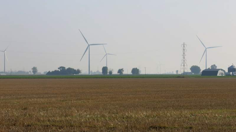 Wind farm outside Traverse City in Michigan in August of 2014.