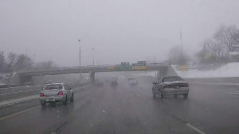 Consistent snowfall is making travel dicey on Metro Detroit roads on Feb. 26, 2020.