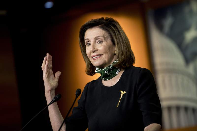 House Speaker Nancy Pelosi of Calif., speaks during a news conference on Capitol Hill, Thursday, May 14, 2020, in Washington. (AP Photo/Andrew Harnik)