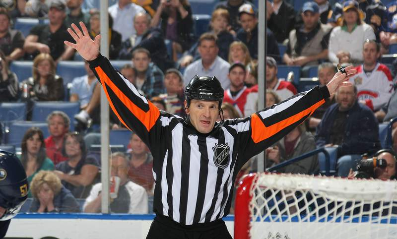 BUFFALO, NY - MARCH 21:  referee Tim Peel #20 waves off a goal as the Buffalo Sabres face the the Montreal Canadiens during their NHL game at First Niagara Center on March 21, 2012 in Buffalo, New York.  (Photo by Dave Sandford/Getty Images)