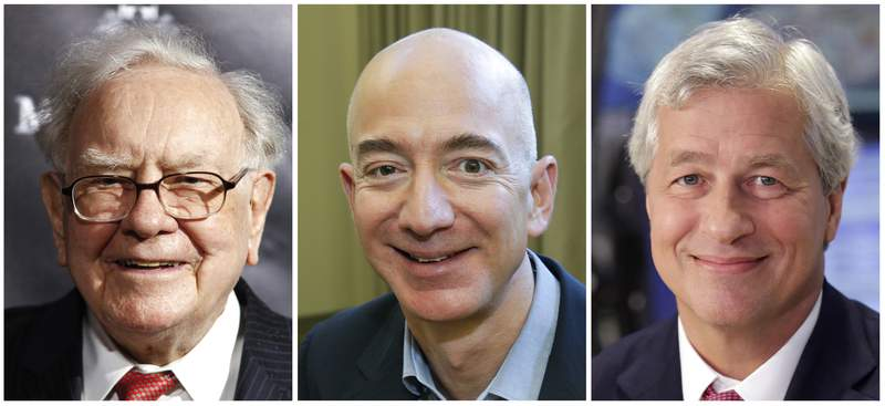 FILE- This combination of file photos from left shows Warren Buffett, chairman and CEO of Berkshire Hathaway, on Sept. 19, 2017, in New York, Jeff Bezos, CEO of Amazon.com, on Sept. 24, 2013, in Seattle and JP Morgan Chase Chairman and CEO Jamie Dimon on July 12, 2013, in New York. A health care venture created in 2018 by the three corporate giants to attack soaring care costs will shutter only a couple years after launching. A company spokeswoman said Monday, Jan. 4, 2021, that Haven will end operations in February. (AP Photos, File)