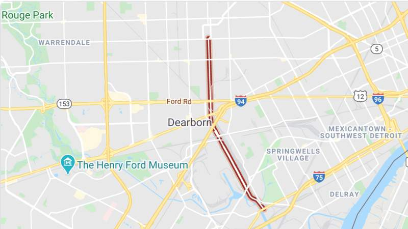 A map of the Miller Road bridge in Dearborn from Google Maps.
