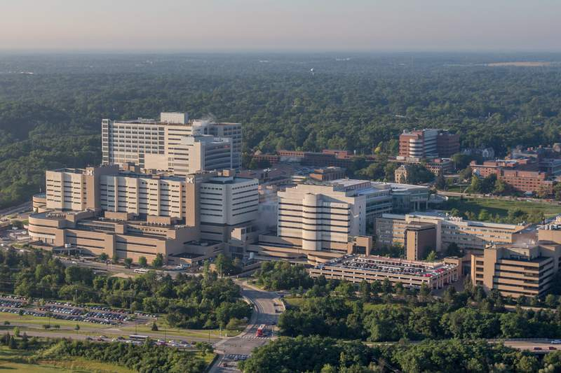 Aerial view of the Michigan Medicine campus in Ann Arbor.