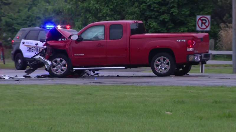 A pickup truck involved in a fatal May 26, 2021, crash on North Dixie Highway in Frenchtown Township.