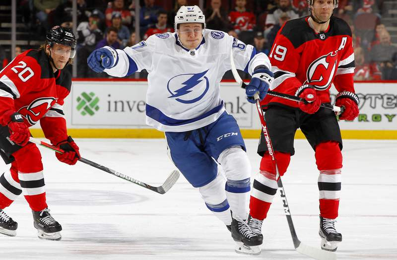 NEWARK, NEW JERSEY - JANUARY 12:   Mitchell Stephens #67 of the Tampa Bay Lightning in action against the New Jersey Devils at Prudential Center on January 12, 2020 in Newark, New Jersey. The Devils defeated the Lightning 3-1. (Photo by Jim McIsaac/Getty Images)