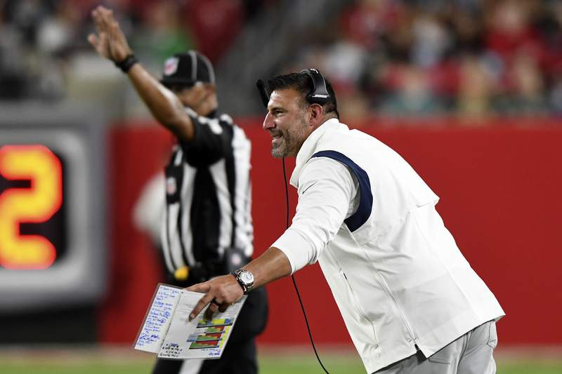 Tennessee Titans head coach Mike Vrabel reacts during the first half of an NFL preseason football game against the Tampa Bay Buccaneers Saturday, Aug. 21, 2021, in Tampa, Fla. (AP Photo/Jason Behnken)