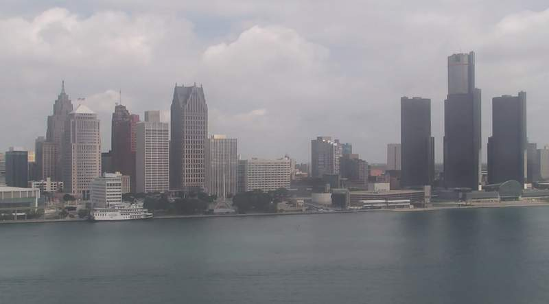 View of Detroit from the Windsor sky camera on July 23, 2020 at 8:20 p.m.