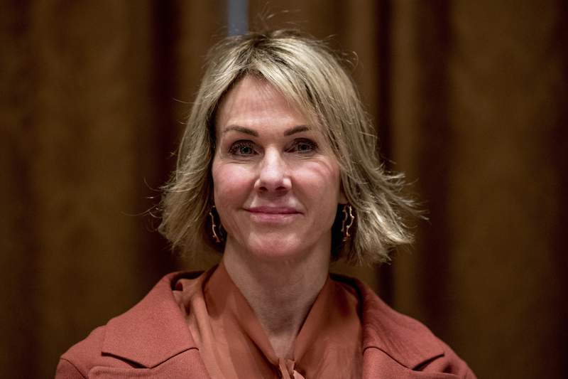 FILE - In this Dec. 5, 2019, file photo, U.S. Ambassador to the U.N. Kelly Craft attends a luncheon with President Donald Trump and members of the United Nations Security Council in the Cabinet Room at the White House in Washington. The State Department cancelled a planned visit to Taiwan by Craft, as well as several other trips planned by senior officials. (AP Photo/Andrew Harnik, File)