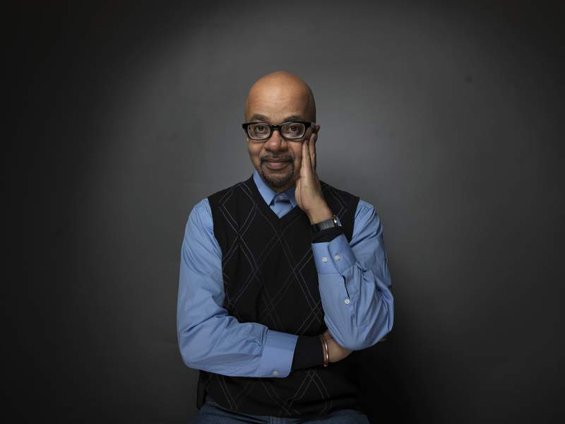 FILE - Filmmaker James McBride poses for a portrait during the 2012 Sundance Film Festival in Park City, Utah on  Jan. 23, 2012. McBride and editor Chris Jackson were among those honored Thursday night by the Center for Fiction. McBride and Showtime received an On Screen Award for the acclaimed adaptation of his prize-winning historical novel The Good Lord Bird, which starred Ethan Hawke as the radical 19th century abolitionist John Brown. (AP Photo/Victoria Will, File)