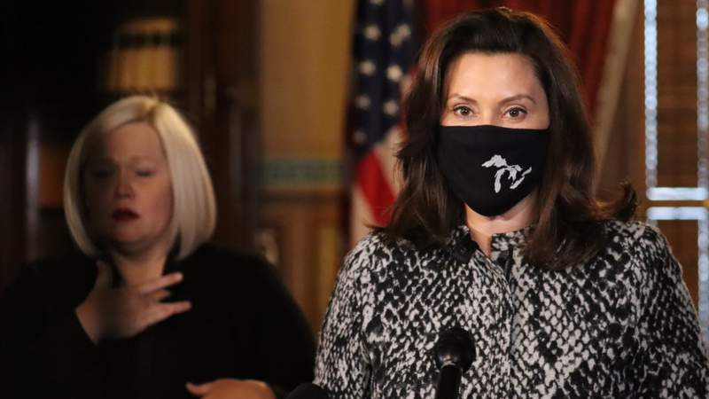 Michigan Gov. Gretchen Whitmer speaks at a press conference in Lansing on Dec. 18, 2020.
