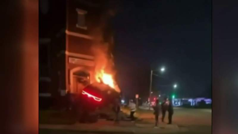Fatal crash sends SUV into church entrance on Detroit's east side