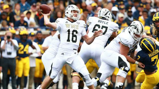 Jon Wassink #16 of the Western Michigan Broncos throws the ball during the game against the Michigan Wolverines at Michigan Stadium on September 8, 2018 in Ann Arbor, Michigan. (Photo by Rey Del Rio/Getty Images)