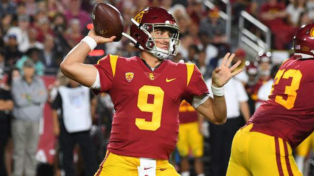 Quarterback Kedon Slovis #9 of the USC Trojans throws a complete pass for a first down in the first quarter of the game against the Stanford Cardinal at the Los Angeles Memorial Coliseum on September 7, 2019 in Los Angeles, California. (Photo by Jayne Kamin-Oncea/Getty Images)