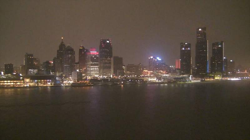 View of Detroit from the Windsor sky camera on Feb. 15, 2020 at 7:26 p.m.