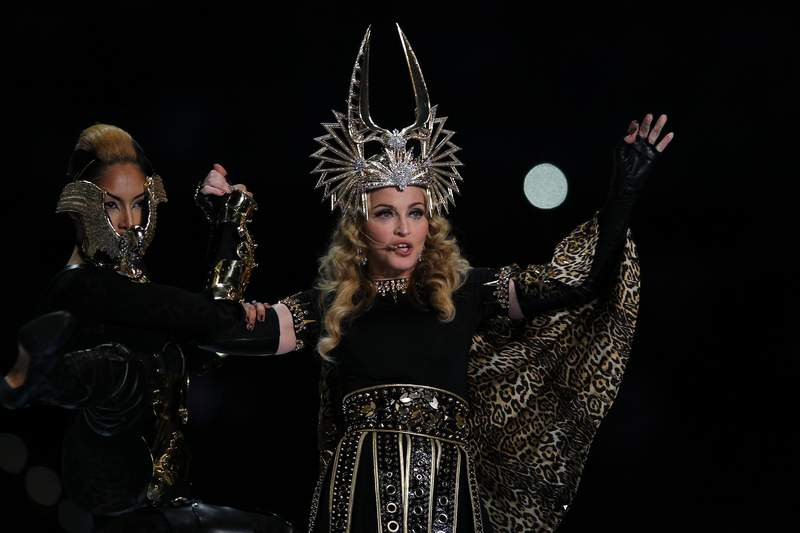 Madonna performs during the Bridgestone Super Bowl XLVI Halftime Show at Lucas Oil Stadium on February 5, 2012 in Indianapolis, Indiana. (Photo by Al Bello/Getty Images)