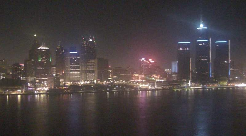 View of Detroit from the Windsor sky camera on Dec. 18, 2020 at 9:47 p.m.
