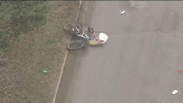 A bicyclist was struck by a car on Ford Road in Westland on April 18, 2019. (WDIV)