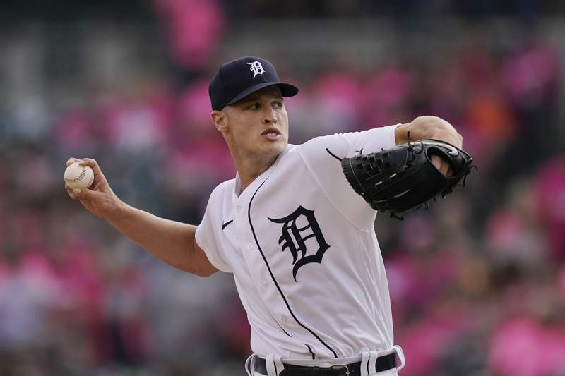 Detroit Tigers starting pitcher Matt Manning throws during the first inning of a baseball game against the Texas Rangers, Wednesday, July 21, 2021, in Detroit.