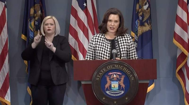 Michigan Gov. Gretchen Whitmer holds a COVID-19 news conference on April 20, 2020.
