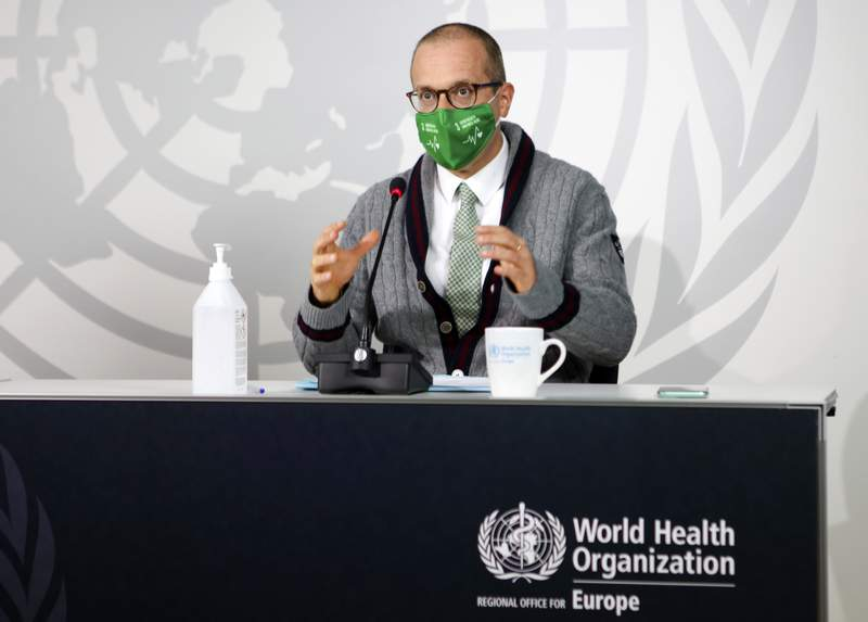 World Health Organization regional director Dr. Hans Kluge speaks during an online news conference with Katie Smallwood, WHO Europes senior health emergency officer, in Copenhagen, Denmark, on Thursday Sept. 17, 2020. Kluge said his decision to wear a mask was a clear signal that we are going into a worsening situation with the coronavirus in WHO Europes 53-country region. (David Barrett/WHO via AP)