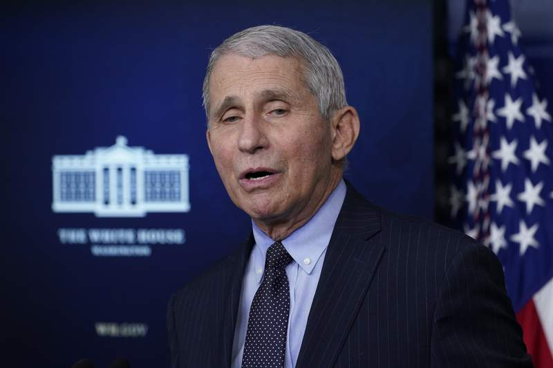 In this Jan. 21, 2021, photo, Dr. Anthony Fauci, director of the National Institute of Allergy and Infectious Diseases, speaks with reporters in the James Brady Press Briefing Room at the White House in Washington. President Joe Biden is dispatching the nations top scientists and public health experts to regularly brief the American public about the pandemic. Beginning Jan. 27, the experts will host briefings three times a week on the state of the outbreak and efforts to control it.  (AP Photo/Alex Brandon)
