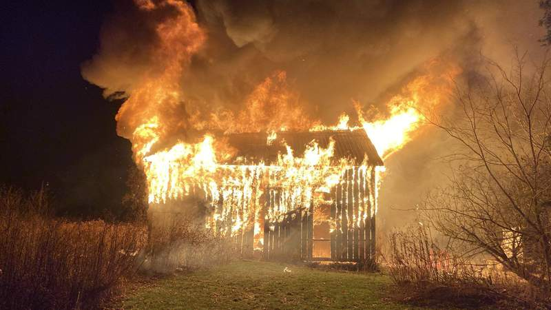 Six calves were killed in this barn fire in Scio Township on Nov. 26, 2019, officials said.