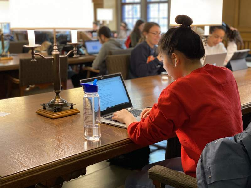 A student works at the Michigan Union on Jan. 13, 2020.