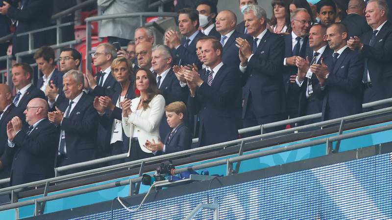 Prince George with his mom and dad at the Euro 2021 final.