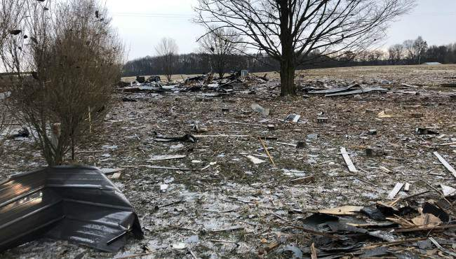 Pieces of a vacant building destroyed by an explosion in Vergennes Township Monday, Dec. 16, 2019. (WOOD TV)