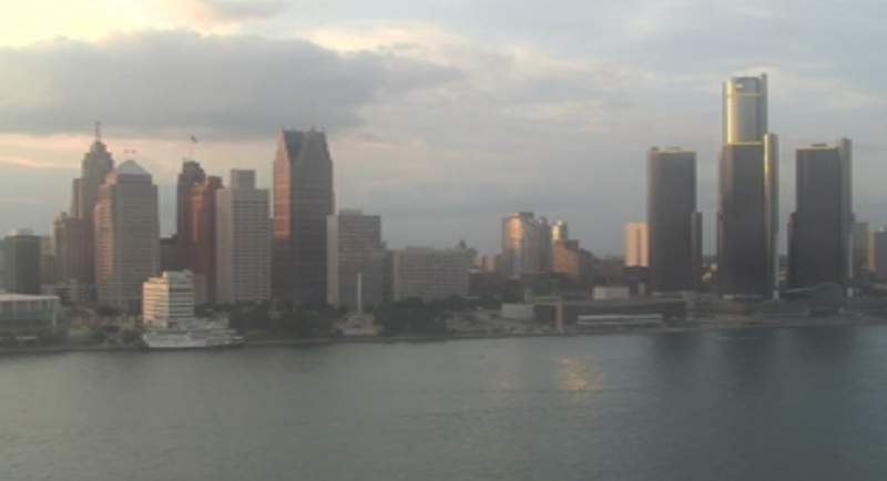 View of Detroit from the Windsor sky camera on July 20, 2020 at 8:30 p.m.