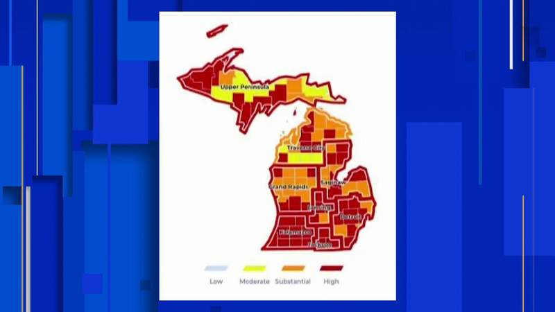 A map showing Michigan's high transmission level of COVID-19 on Aug. 18, 2021.