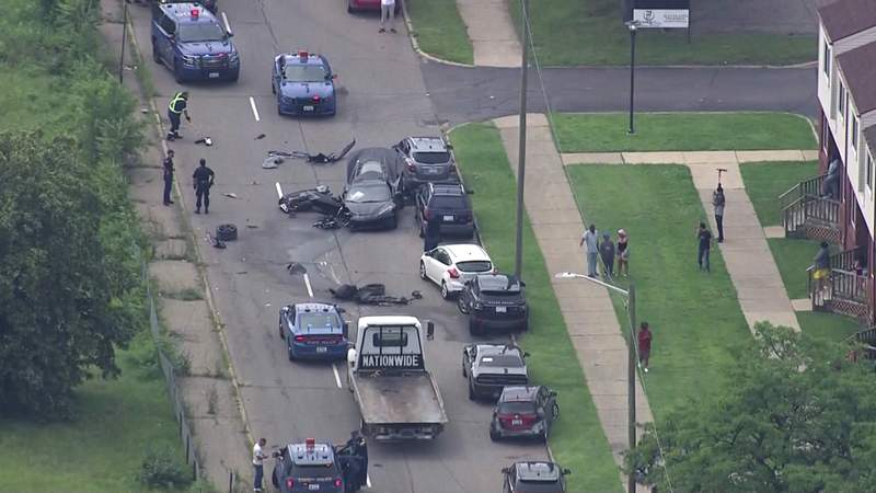A black Corvette crashed in Detroit after a police chase on July 15, 2021.