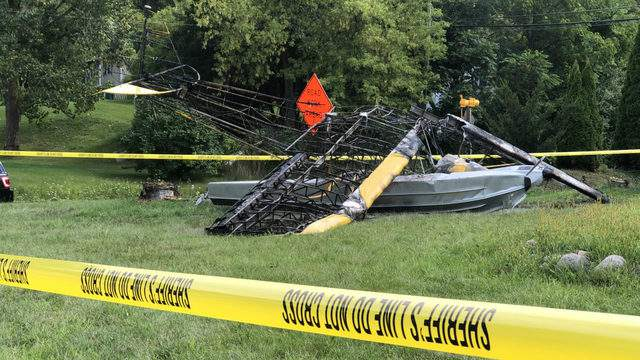 A seaplane that crashed Sept. 2, 2019, in Independence Township. (WDIV)