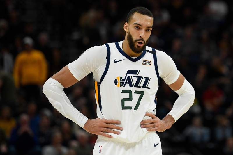 Rudy Gobert #27 of the Utah Jazz looks on during a game against the Dallas Mavericks at Vivint Smart Home Arena on January 25, 2019 in Salt Lake City, Utah. NOTE TO USER: User expressly acknowledges and agrees that, by downloading and/or using this photograph, user is consenting to the terms and conditions of the Getty Images License Agreement.