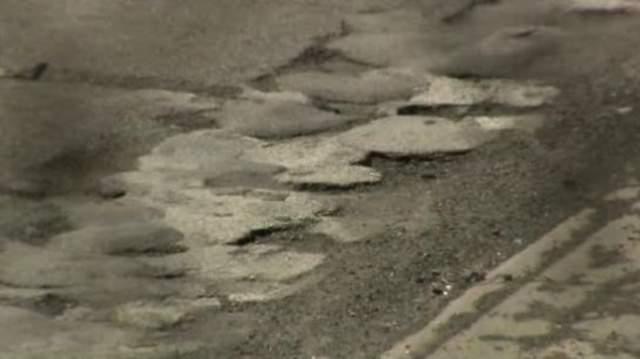 A crumbling Michigan highway