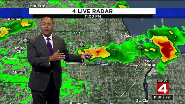 Andrew Humphrey looks at the radar on Sept. 10, 2019. (WDIV)