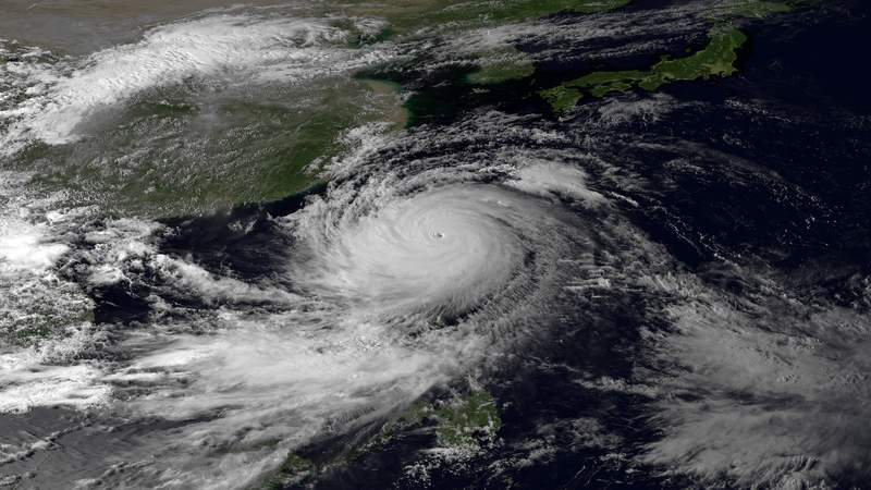 Satellite image of Super Typhoon Usagi, taken by Japan Meteorological Agency's MTSAT-2 satellite and provided by the NOAA.