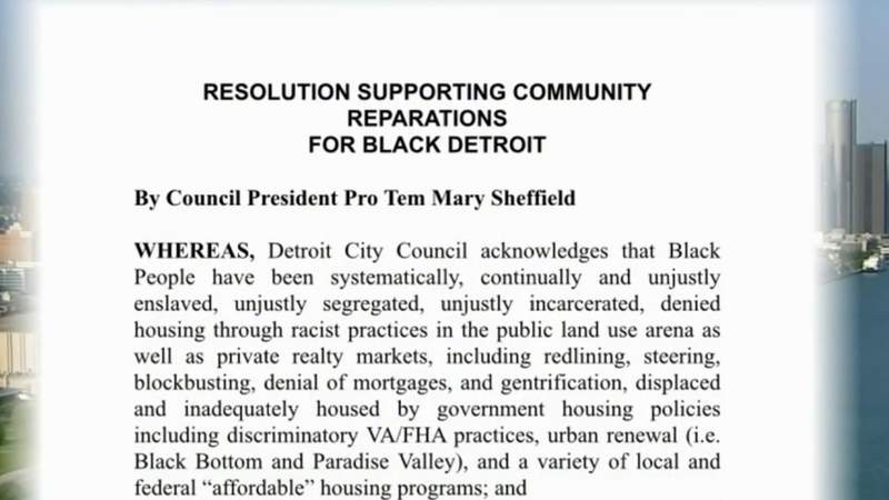 Detroit City Council votes in favor of reparations commitment