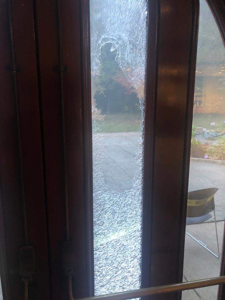 Vandalism at Ahmadiyya Community Center in Rochester Hills that took place Oct. 8, 2021.