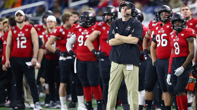Head coach Rod Carey of the Northern Illinois Huskies looks on from the sideline while playing the Duke Blue Devils during the Quick Lane Bowl at Ford Field on December 26, 2017 in Detroit Michigan. (Photo by Gregory Shamus/Getty Images)